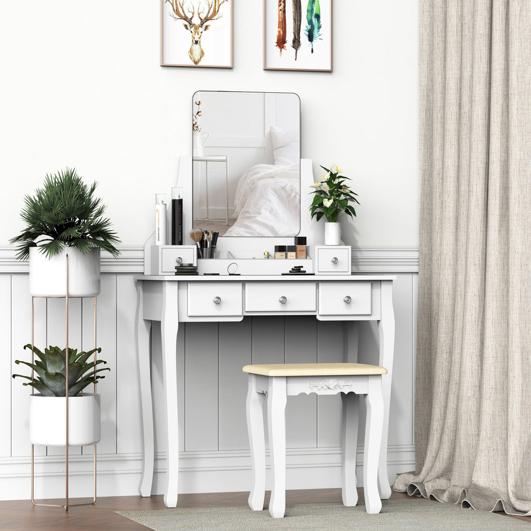 HOMCOM Dressing Table Set with Cushioned Stool, Makeup Vanity Dresser Desk with 5 Drawers for Bedroom, White