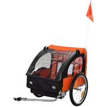 Load image into Gallery viewer, HOMCOM Steel Frame Children's 2-Seater Bicycle Trailer Orange