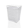 Arpan Medium White White Wicker Washing Cloth Basket With White Lining