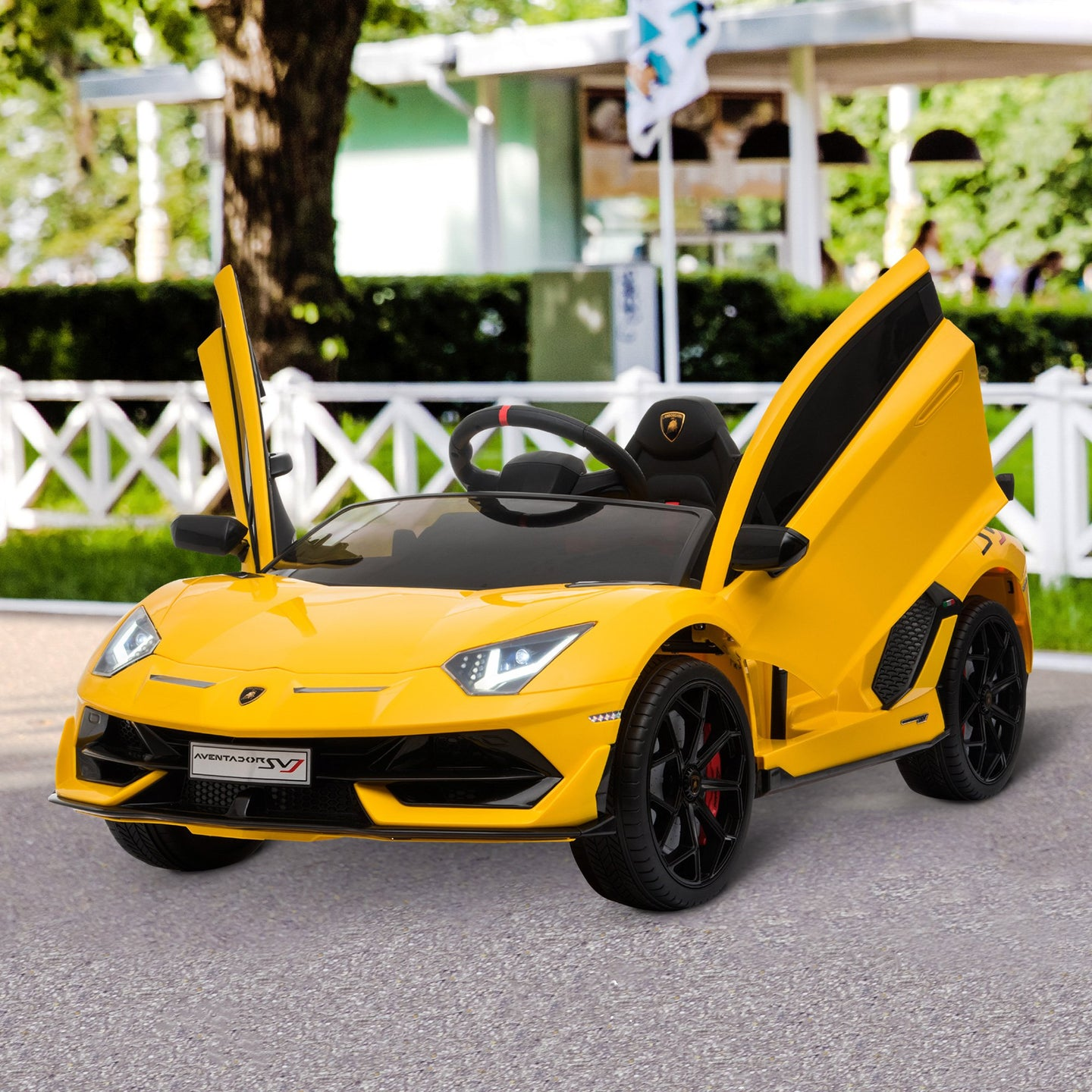 HOMCOM Compatible 12V Battery-powered Kids Electric Ride On Car Lamborghini Aventador Sports Racing Car Toy with Parental Remote Control Lights Yellow