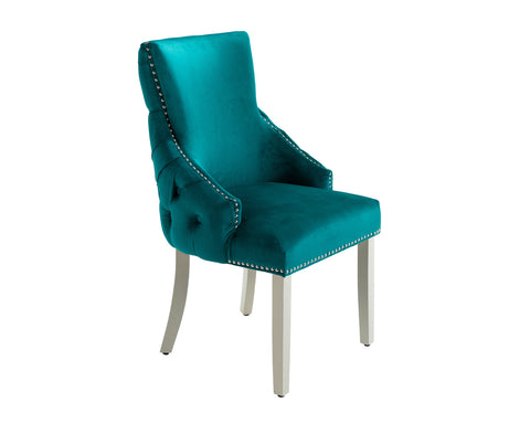 Elizabeth Dining Chair in Teal Velvet with Round Knocker and Grey Legs