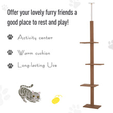 Load image into Gallery viewer, PawHut 4-level Platform Cat Tree with Covered Scratching Posts Natural Cat Tree Activity Center for Kittens Cat Tower Furniture Brown