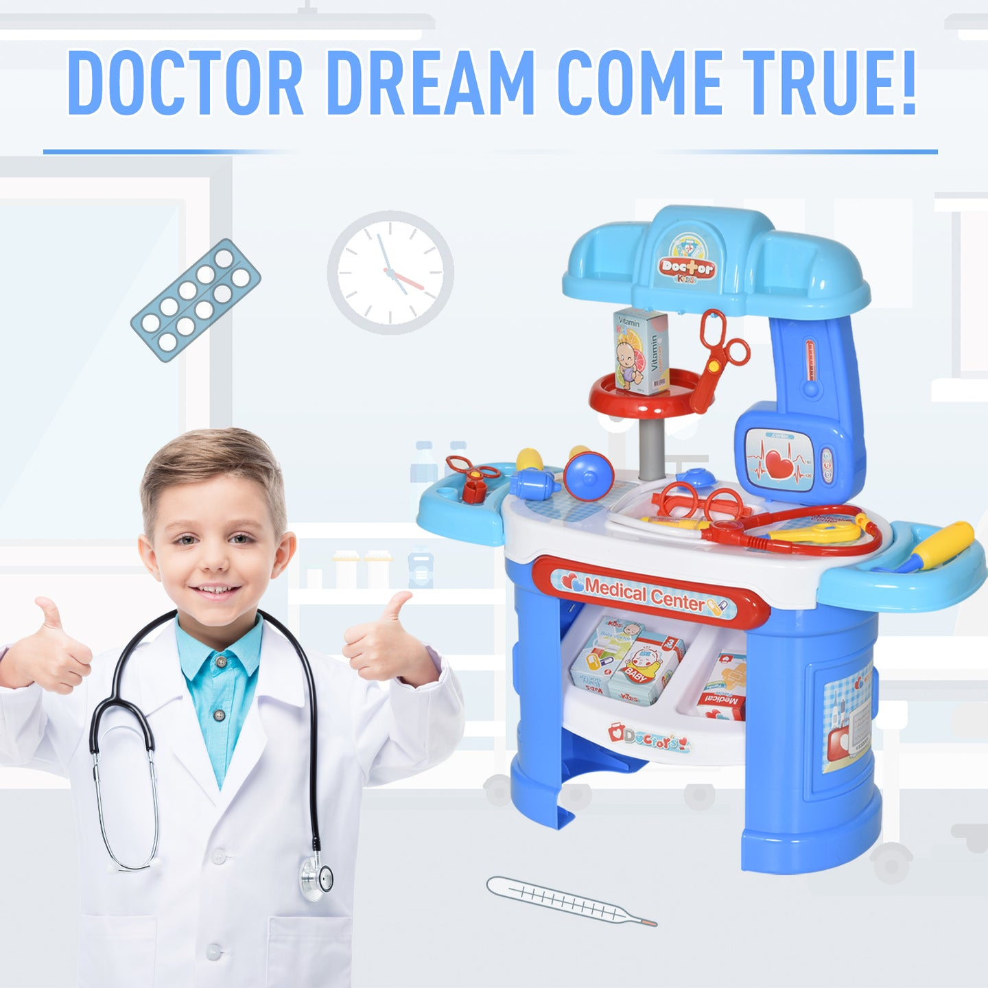 HOMCOM 26 Pcs Children's Doctor Play Set Pretend w/ Medical Kit Syringe Stethoscope Sticker Educational Safe Boys Girls Gift 3-6 Yrs Blue
