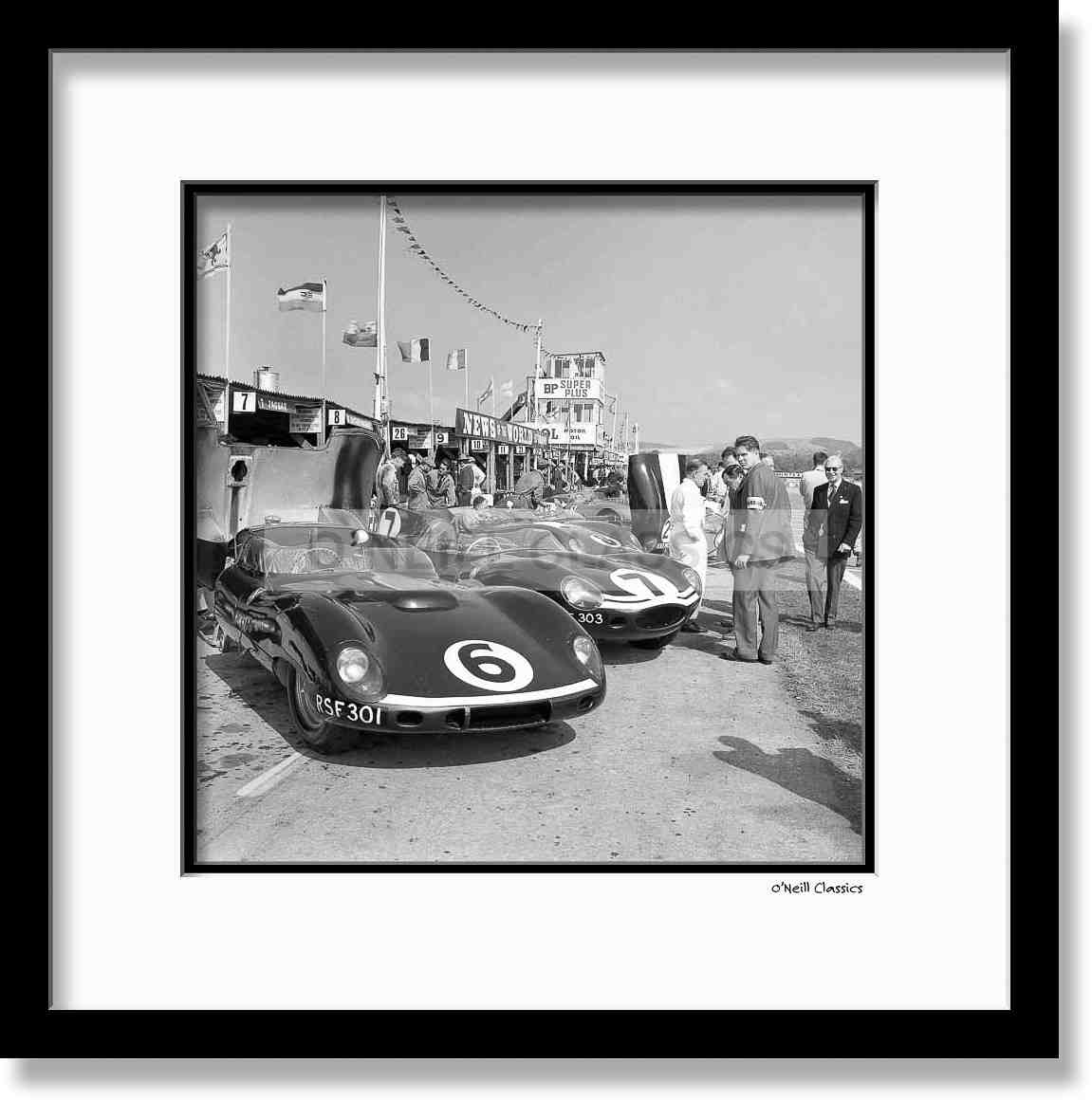 Motor Racing meeting at Goodwood, Sussex - Framed B&W photograph