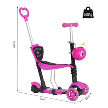 Load image into Gallery viewer, HOMCOM 5-in-1 Kids Kick Scooter W/Removable Seat-Pink