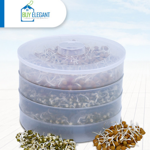 BuyElegant Organic 3 Tray Sprout Maker Germinator for Beans & Seeds Semi-transparent BPA Free Shatter-resistant Plastic