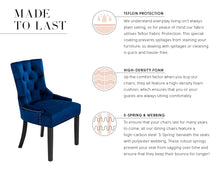Load image into Gallery viewer, Verona Dining Chair in Royal Blue Velvet with Chrome Knocker and Black Legs