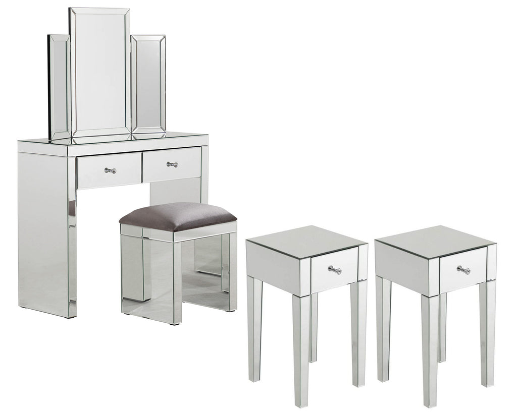 Monroe Silver Mirrored Console Table Set with 2 x 1 Drawer Bedside Tables, Stool and Tri-fold Mirror