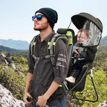 HOMCOM Baby Backpack Carrier for Hiking Child Carrier with Ergonomic Hip Seat Detachable Rain Cover Adjustable Straps Stand