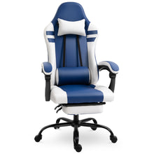 Load image into Gallery viewer, Vinsetto Luxe PU Leather Gaming Chair w/Footrest Wheels Ergonomic Adjustable Height Padding Removable Pillows Swivel 5 Wheels Reclining Back Office Racing Room Work Blue White