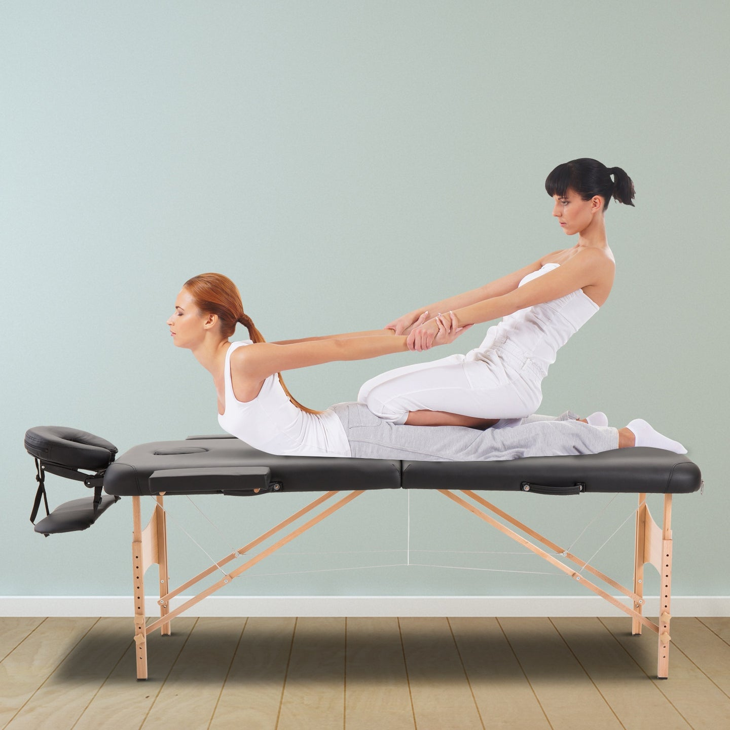 HOMCOM Portable Folding Massage Table, 2 Sections-Black