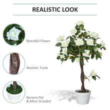 Load image into Gallery viewer, Outsunny Artificial Camellia Tree Fake Decorative Plant 21 Flowers with Nursery Pot for Indoor Outdoor Décor, 90cm, White and Green