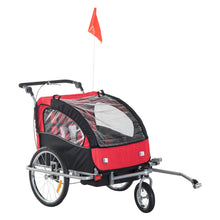 Load image into Gallery viewer, HOMCOM 2 in 1 Child Bike Trailer,2-Seater-Black/Red