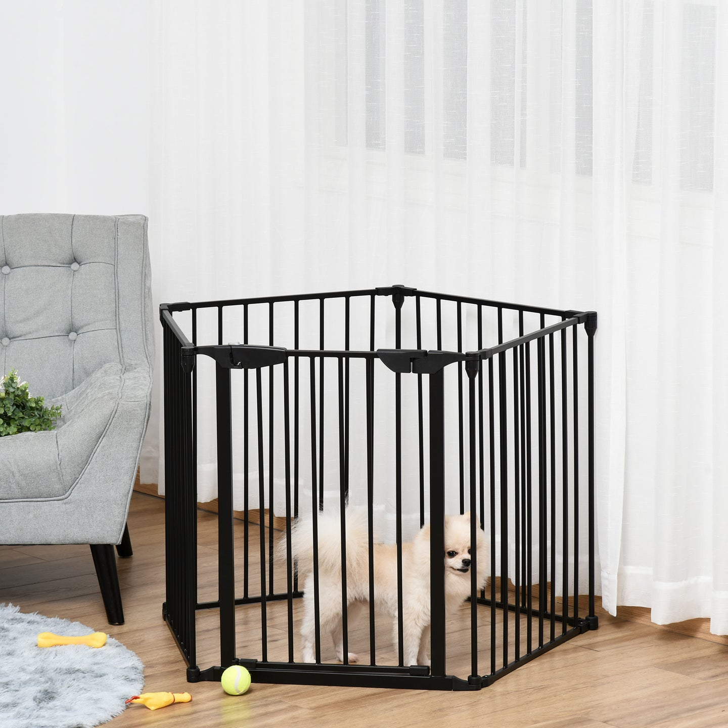 PawHut Pet Safety Gate 5-Panel Freestanding Playpen Fireplace Christmas Tree Metal Fence Stair Barrier Room Divider with Walk Through Door