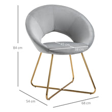 Load image into Gallery viewer, HOMCOM Modern Accent Chairs Velvet Upholstered Armchair with Gold Legs for Living room Bedroom Dinning Room Grey