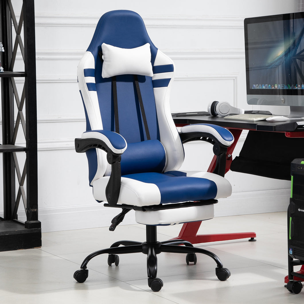 Vinsetto Luxe PU Leather Gaming Chair w/Footrest Wheels Ergonomic Adjustable Height Padding Removable Pillows Swivel 5 Wheels Reclining Back Office Racing Room Work Blue White