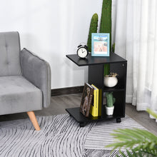 Load image into Gallery viewer, HOMCOM C-Shape End Table Unique Storage Unit w/ 2 Shelves 4 Wheels Freestanding Home Office Furniture Cabinet Square Studio Black
