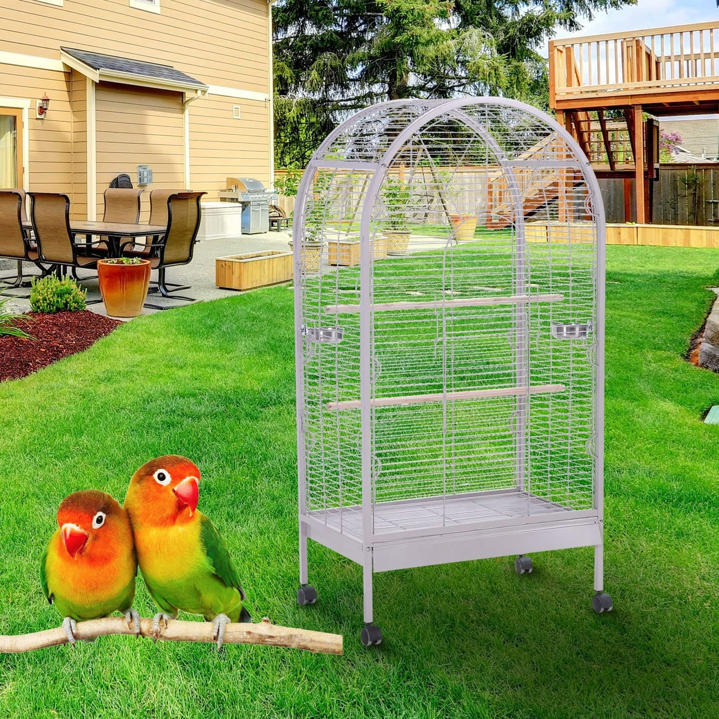 PawHut Large Metal Bird Cage Aviary Budgies Finch Cockatiel Birds Stand Feeding Station Open Top w/ Wheels (80L x 52W x154H?cm?)