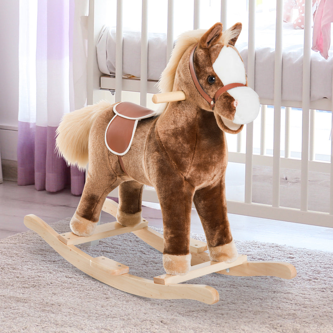 HOMCOM Kids Plush Rocking Horse-Brown