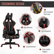 Load image into Gallery viewer, Vinsetto Racing Gaming Chair Reclining Swivel Chair Adjustable Height w/Head Back Pillow Support Wheels Red