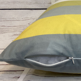 2 x Yellow Grey White Cushion Covers Short Plush 45 x 45 cm Square Premium Soft Furnishing, Sofas, Beds, Indoor, Outdoor