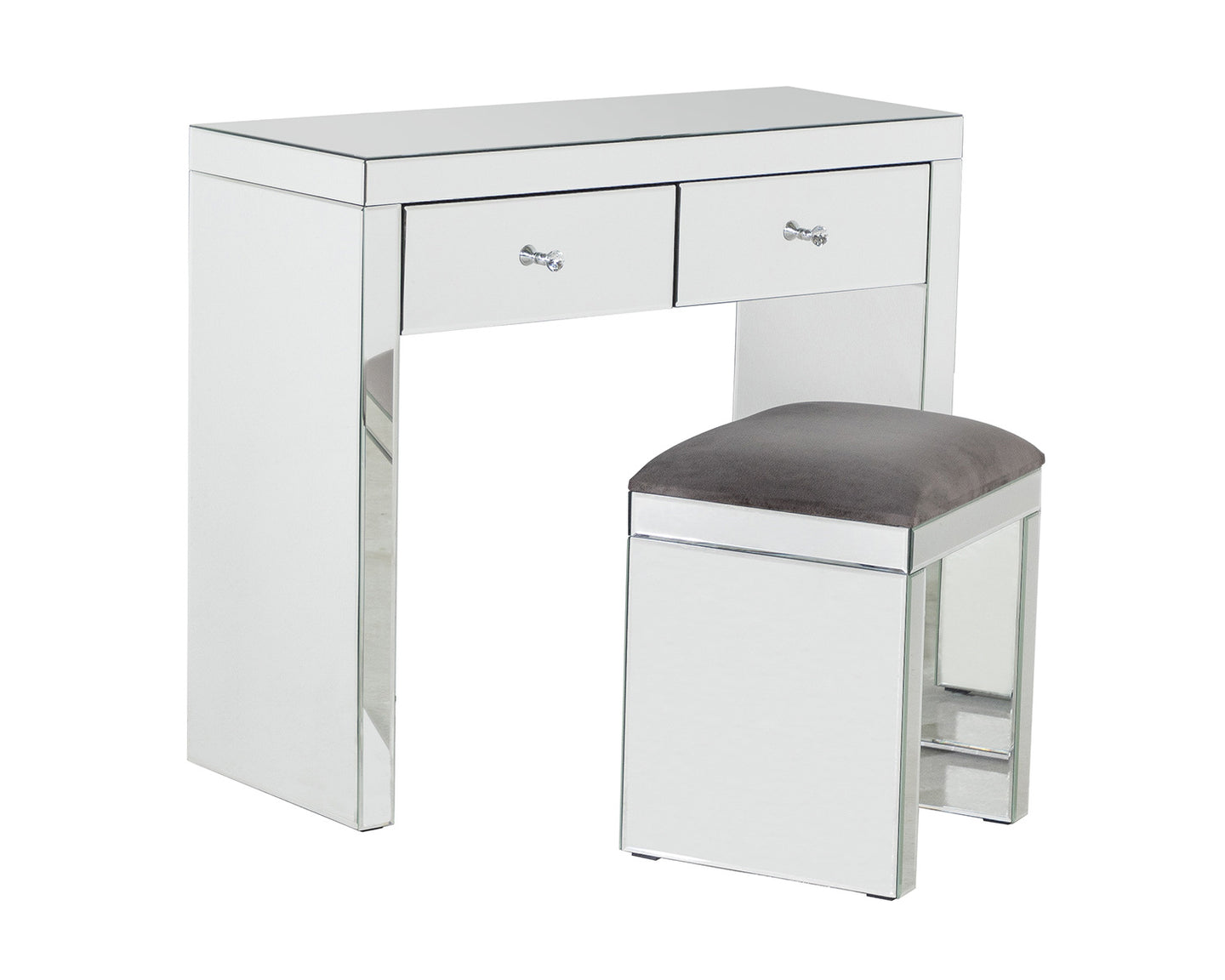 Monroe Silver Mirrored Console Table Set and Stool