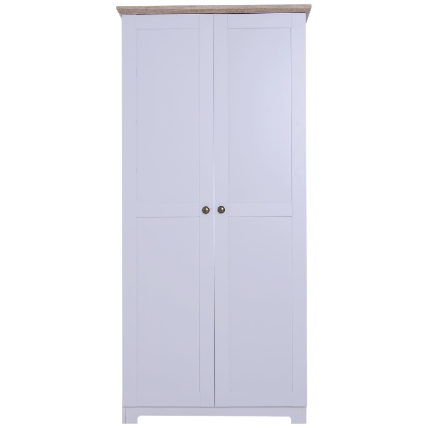 HOMCOM 172cm Wooden Storage Cabinet Cupboard With 2 Doors 4 Shelves White Living Room Bedroom Office