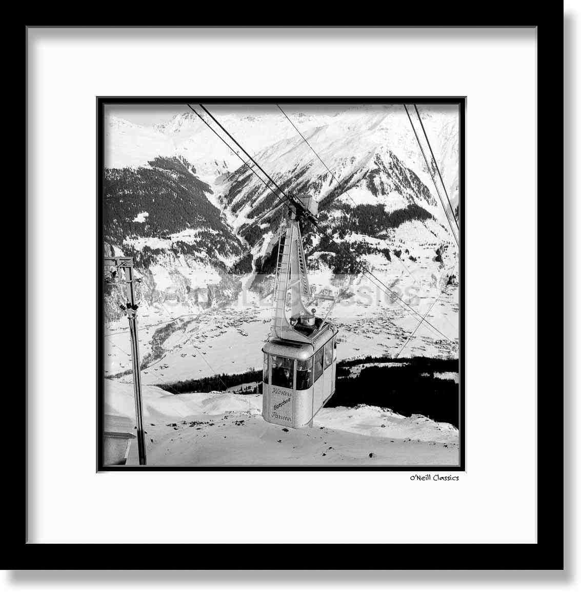 Cable Car, Klosters - Framed B&W photograph