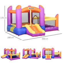 Load image into Gallery viewer, Outsunny Kids Bounce Castle House Inflatable Trampoline Slide Water Pool 3 in 1 with Inflator for Kids Age 3-12 Multi-color 3 x 2.8 x 1.7m