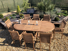 Load image into Gallery viewer, Luxury Extending Teak Table With 8 Stacking Teak Chairs