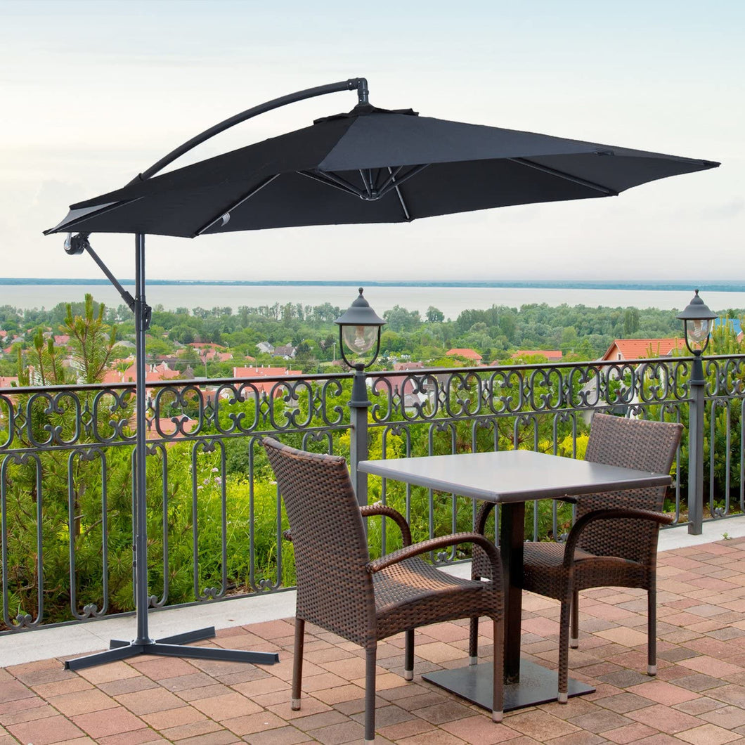 Garden Banana Parasol 3m Black Outsunny Patio Banana Sun Umbrella Heavy Duty