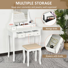 Load image into Gallery viewer, HOMCOM Dressing Table Set with Cushioned Stool, Makeup Vanity Dresser Desk with 5 Drawers for Bedroom, White