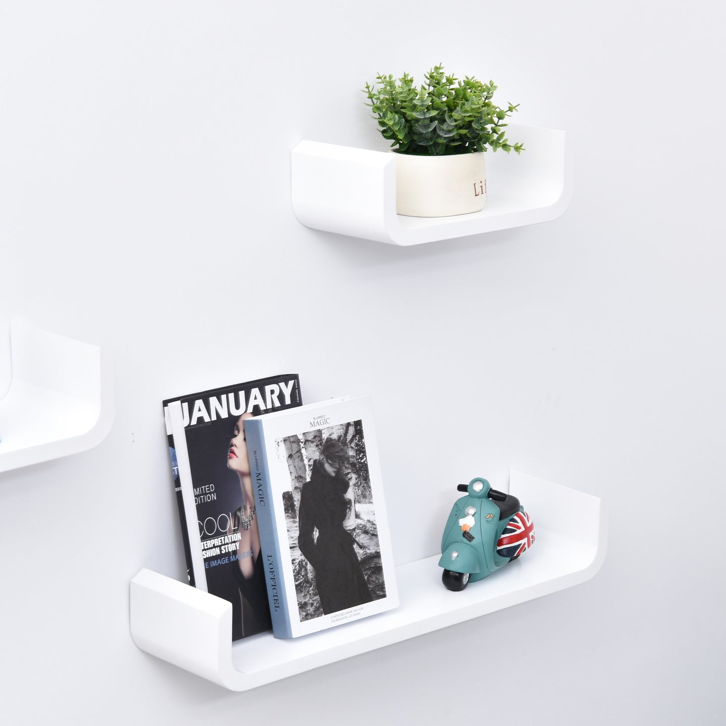 HOMCOM 3 pcs U Shaped Shelves Set-White
