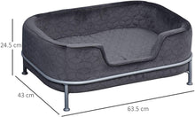 Load image into Gallery viewer, PawHut Pet Sofa Dog Bed Couch Cat Kitten Sponge Removable Cushion Lounge Metal Stand Elegant Bed Seat Furniture Grey 63.5 x 43 x 24.5 cm