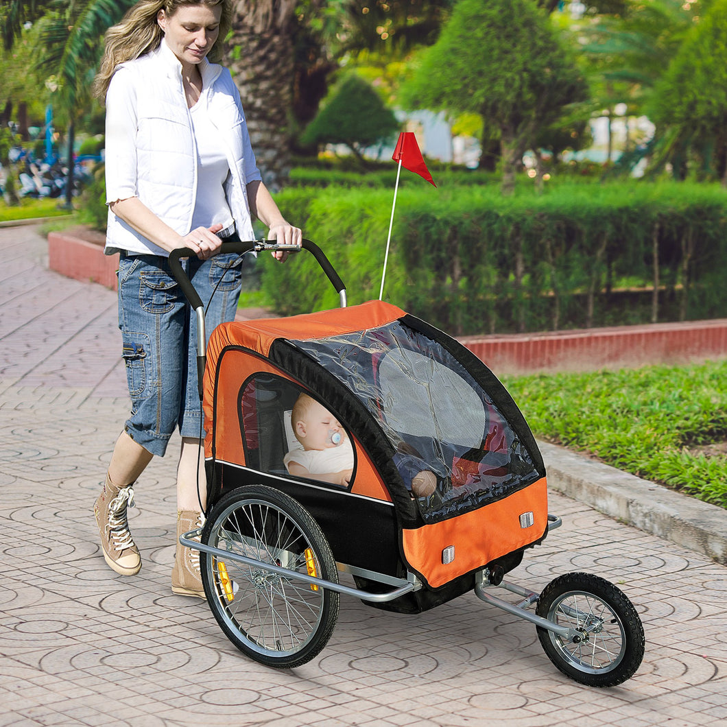 HOMCOM Steel Frame Children's 2-Seater Jogger Trailer Orange