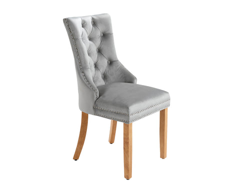 Ashford Dining Chair in Light Grey Velvet with Square Knocker And Oak Legs