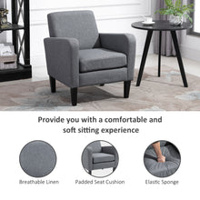 Load image into Gallery viewer, HOMCOM Linen Modern-Curved Armchair Accent Seat w/ Thick Cushion Wood Legs Foot Pads Single Compact Home Furniture City Flats Grey