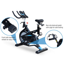 Load image into Gallery viewer, HOMCOM Stationary Exercise Bike Indoor Cycling Bicycle Cardio Workout Trainer w/ Heart Pulse Sensor & LCD Monitor Flywheel Black