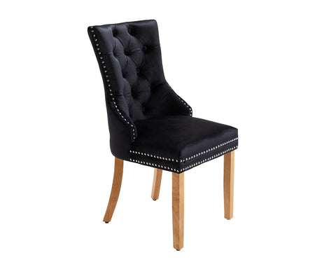 Ashford Dining Chair in Black Velvet with Square Knocker And Oak Legs