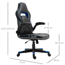 Load image into Gallery viewer, Vinsetto PU Leather Racing Style Gaming Office Chair Ergonomic Adjustable Height Arms 360 Swivel Rolling Black/Blue