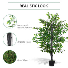 Load image into Gallery viewer, Outsunny Artificial Banyan Decorative Plant with Nursery Pot, Fake Tree for Indoor Outdoor Décor, Green, 1.45m