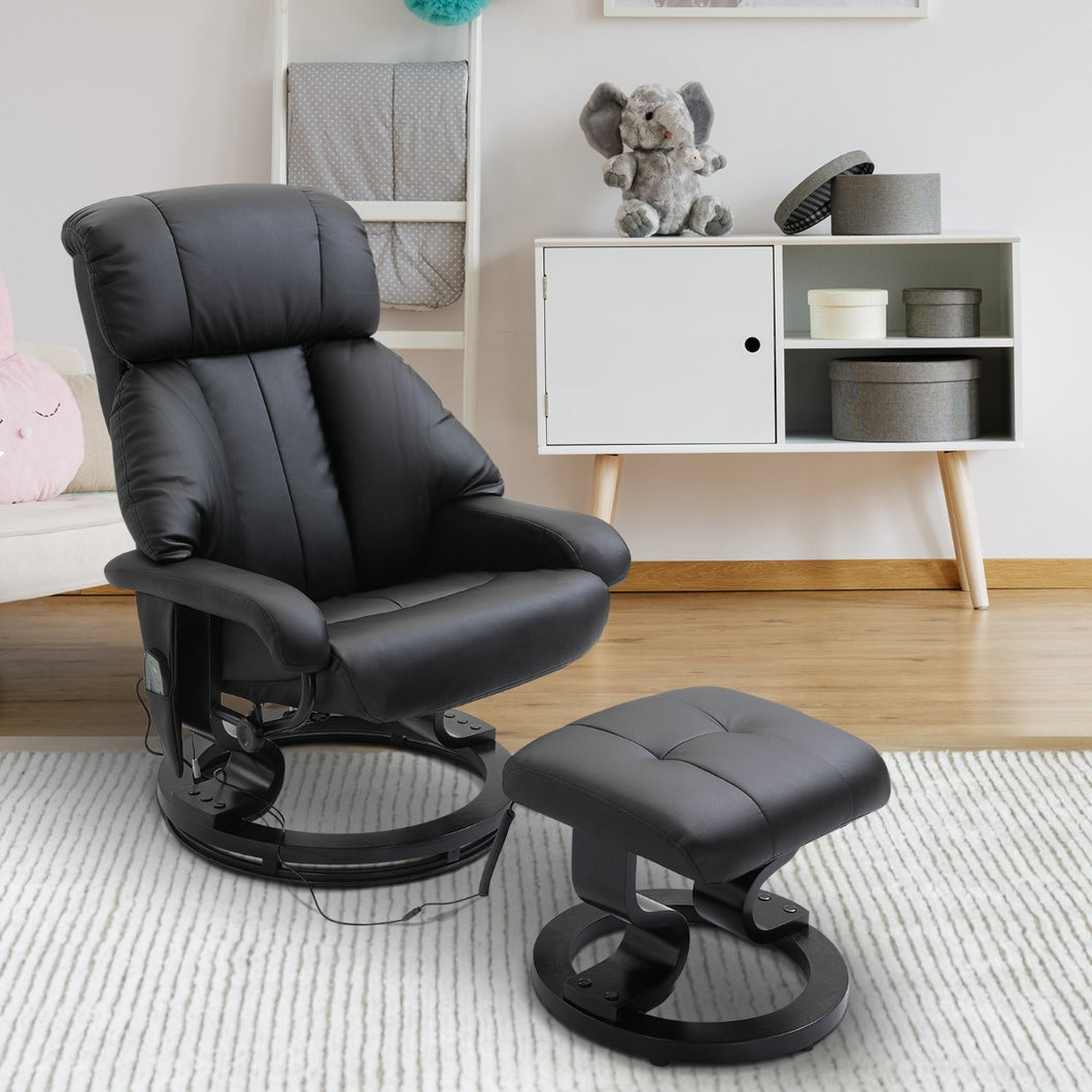HOMCOM Recliner Massage Chair W/Foot Stool-Black