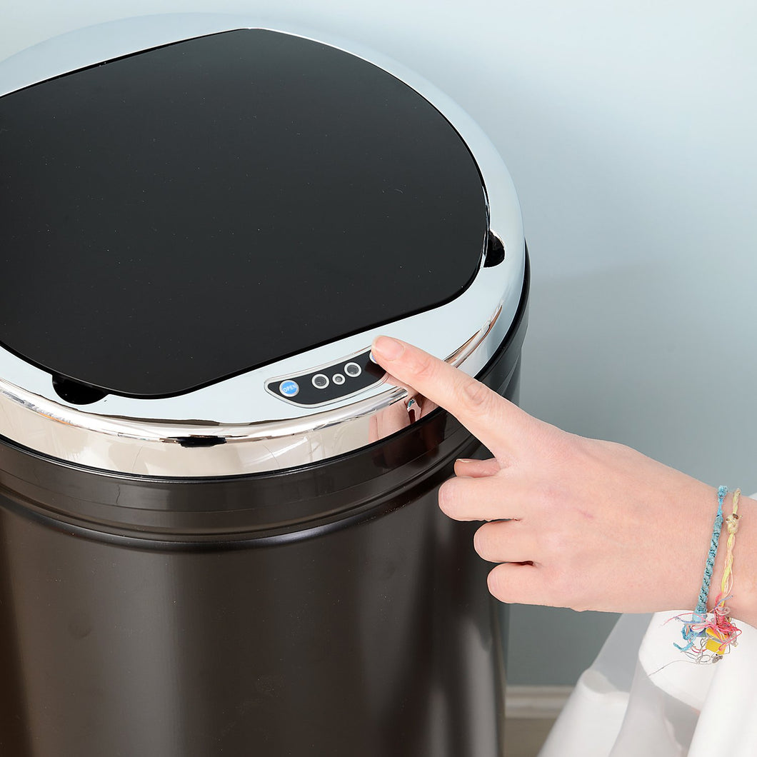 HOMCOM 50L Stainless Steel Sensor Trash Can W/ Bucket-Black