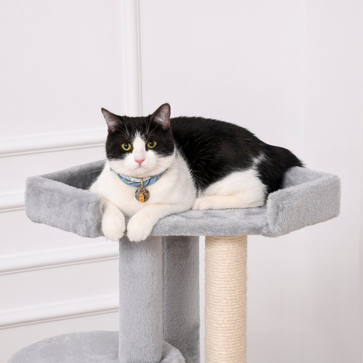 PawHut Cat Tree Kitten Tower Multi-level Activity Centre Pet Furniture with Scratching Post Condo Hanging Ropes Plush Perches Grey