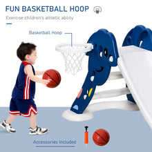 Load image into Gallery viewer, HOMCOM Kids Slide with Basketball Hoop Toddler Climber Freestanding Slider Playset Playground Slipping Slide Indoor Outdoor Exercise Toy Blue