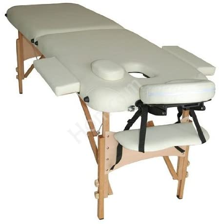 HOMCOM Portable Folding Massage Table, 2 Sections-Cream