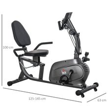 Load image into Gallery viewer, HOMCOM Exercise Training and Workout Stationary Cycling Bike, Pad Holder with LCD Monitor, Indoor Workout, Black
