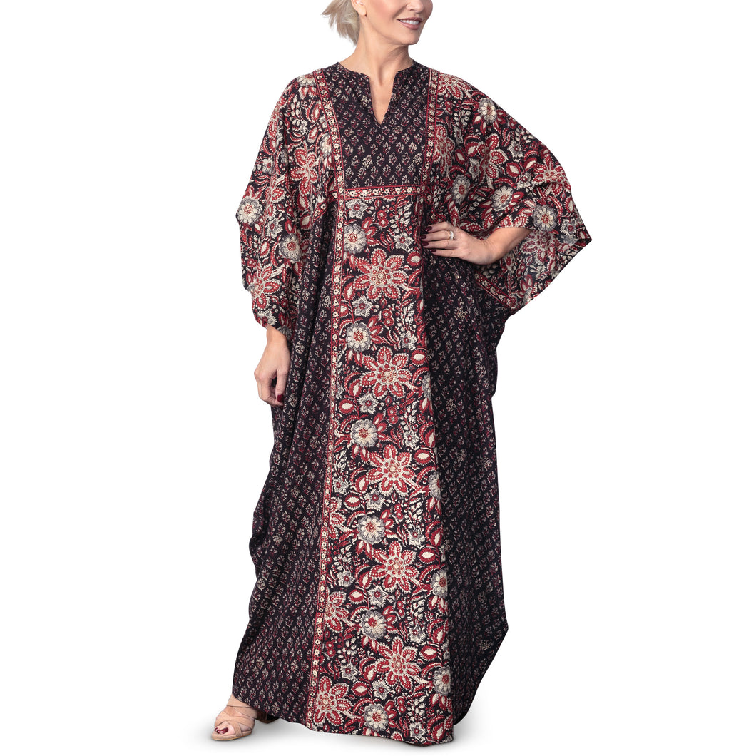 Anokhi Bagru Cotton Floral Print Kaftan Dress