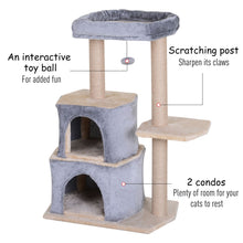 Load image into Gallery viewer, PawHut Multi-Level Cat Scratching Tree Condo Pet Activity Centre with Sisal-Covered Scratching Posts Perch w/ Bed and Dangle Toy Grey