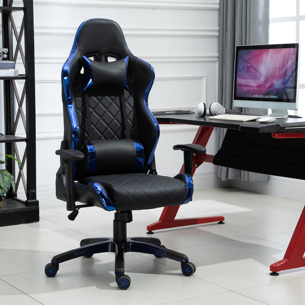Vinsetto Holographic Stripe Gaming Chair Ergonomic Design PU Leather High Back 360 Swivel w/ 5 Wheels 2 Pillows Back Support Racing Chair Black&Blue